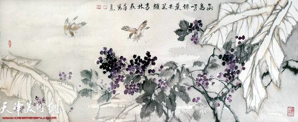 崔燕萍作品:禽鸟鸣绿叶朱果耀高林