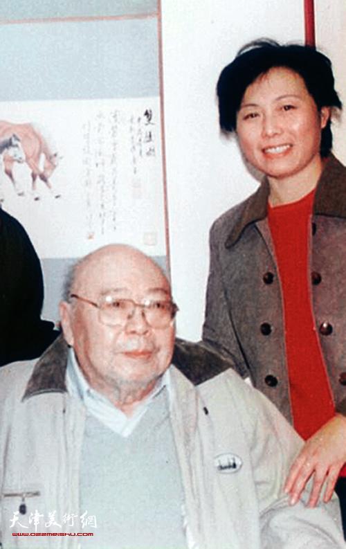 崔燕萍和爱新觉罗·溥佐先生在一起。 (1998年)