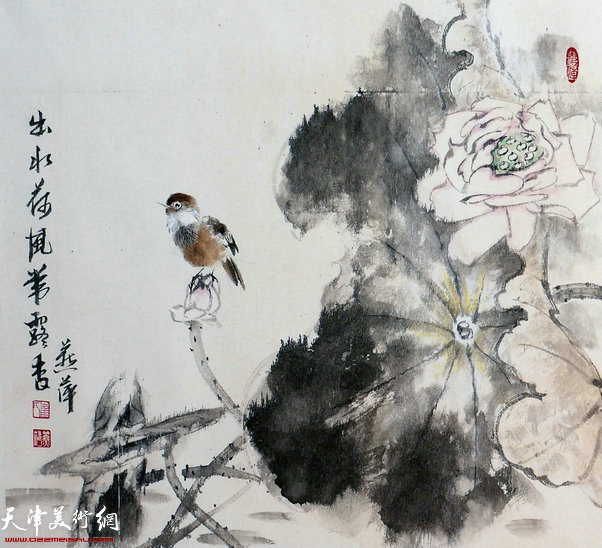 崔燕萍作品:出水荷花带露香