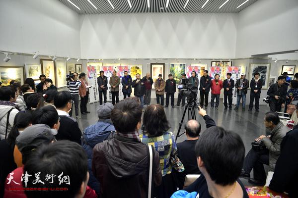 """""""天津市水彩画专业委员会第十届作品展""""在天津图书馆艺术展厅开幕。"""