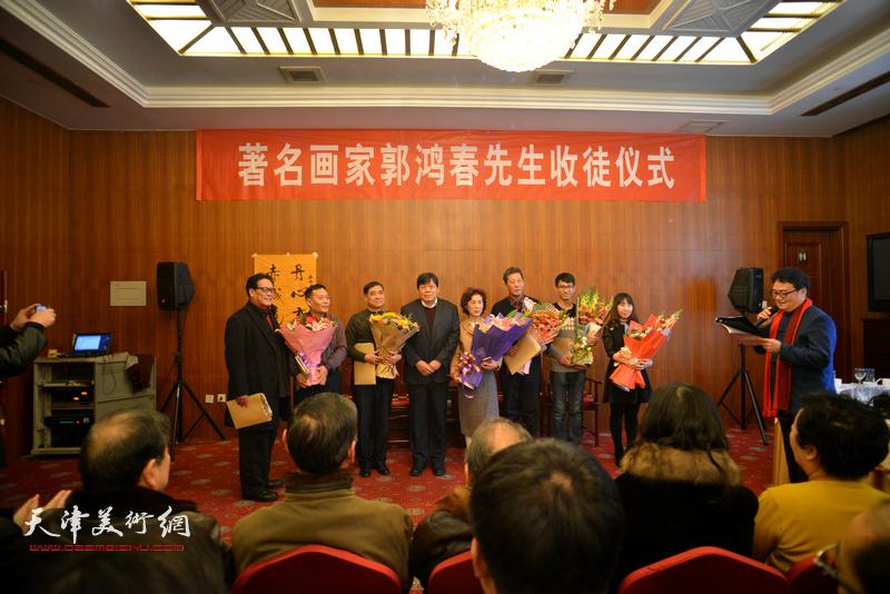 著名画家郭鸿春先生收徒仪式现场。