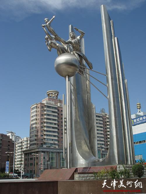 共创未来(天津市河西区危改工程纪念碑),高30米