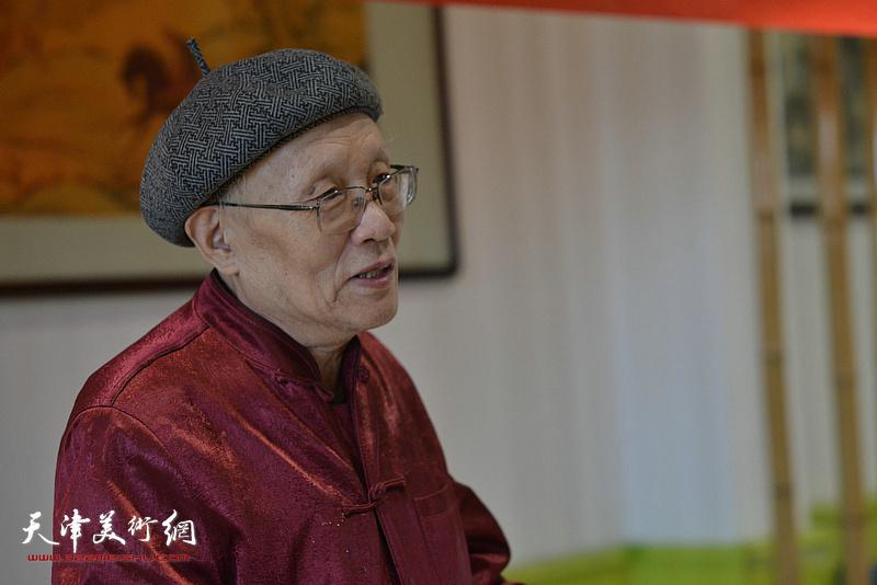 """畫會倡導人之一孫長康先生發言,強調恢復湖社畫會""""精研古法,博取新知""""的藝術主張。"""