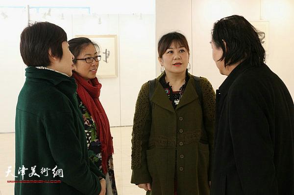 陈元、要彬、曹娟、韩石在顿子斌书法展现场