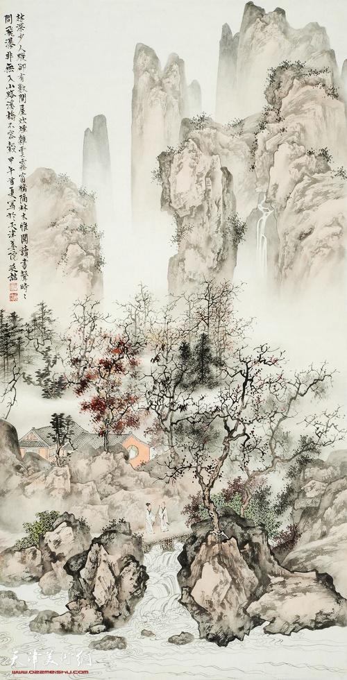 參展作品:《山間訪友》 何延喆 129x63cm