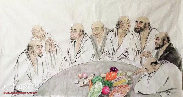 张佩钢小品画新作:《罗汉和转基因蔬菜》