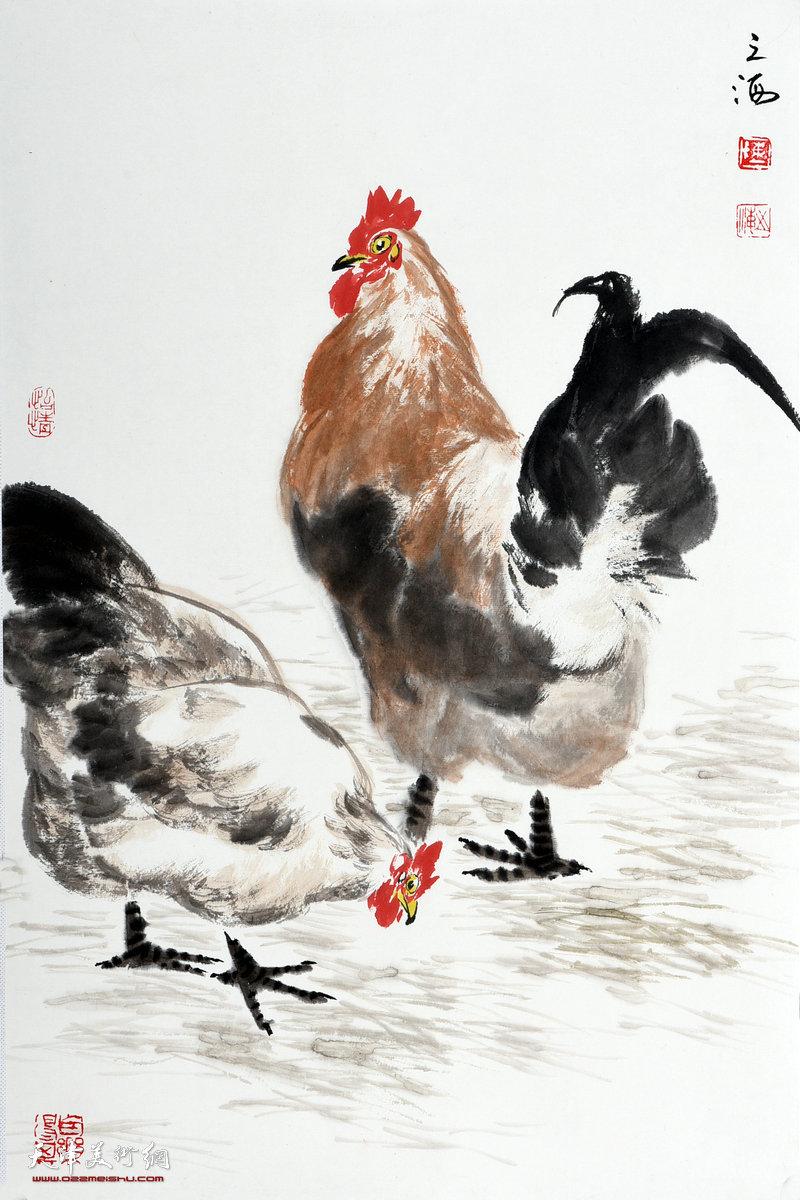 天津著名画家陈之海写意画鸡作品欣赏