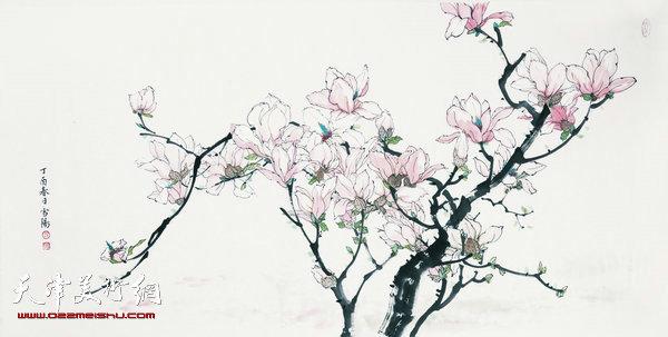 参展作品:庄雪阳 《玉树迎风占早春》138x69cm