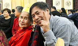 肖培金写大吉祝福母亲90岁善寿