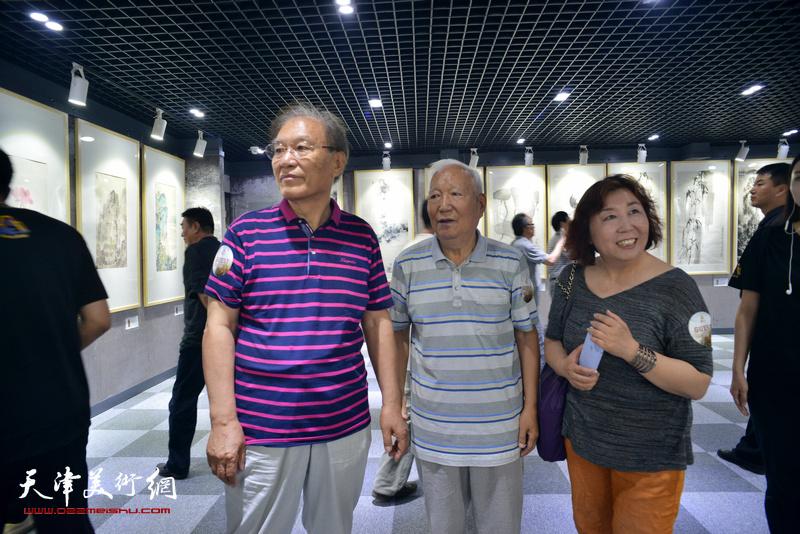 焦俊华、何延喆、焦小红在观看展品。
