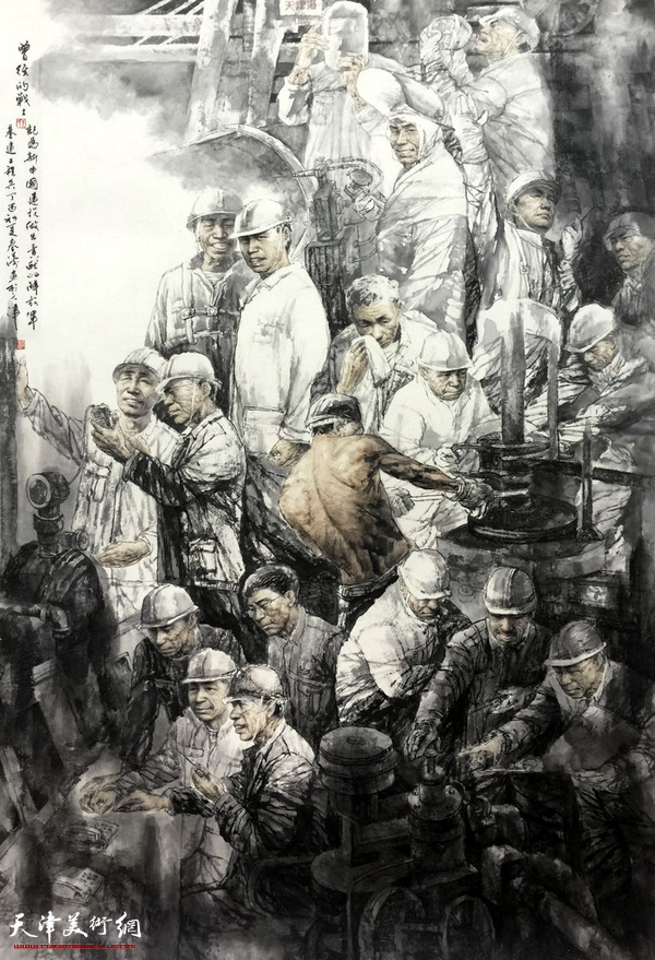 王春涛中国画作品《曾经的战士》。
