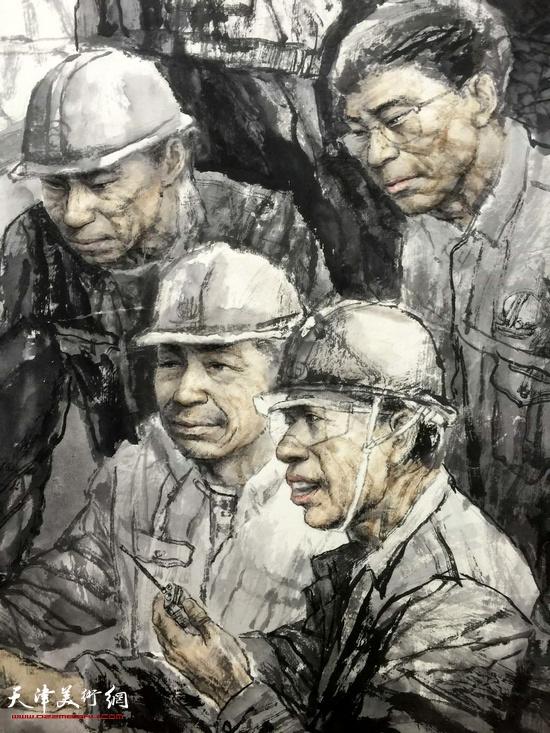 王春涛中国画作品《曾经的战士》 (局部)。