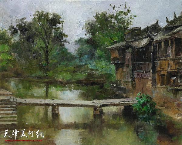 油画《古镇平桥》尺寸:50x40cm杨俊甫