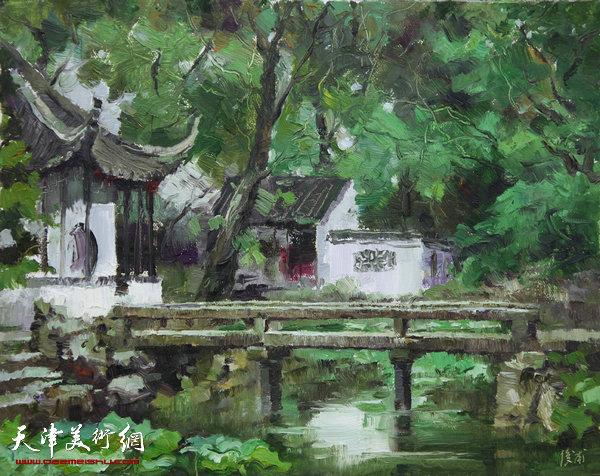 油画《拙政园之一》杨俊甫39x31cm2017.4