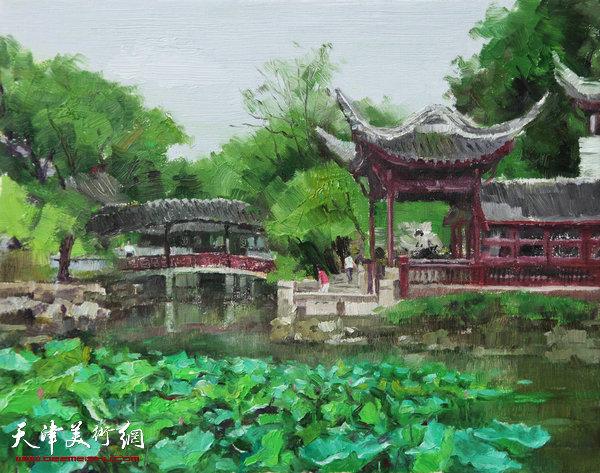 油画《拙政园之三》杨俊甫39x31cm2017.4