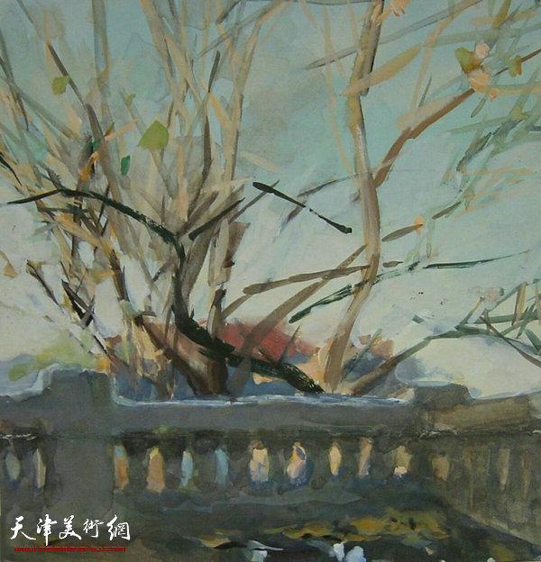 水粉画《阳光下的出版社小阳台》