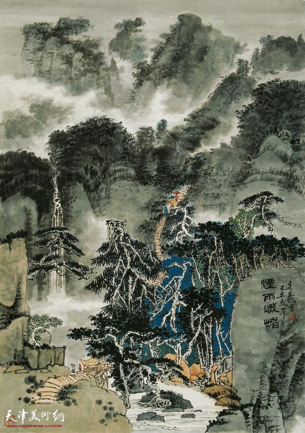 陈连羲作品《烟雨峨眉》