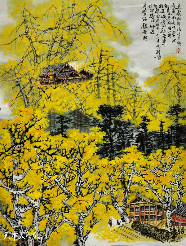 陈连羲作品《冬季的银杏村》