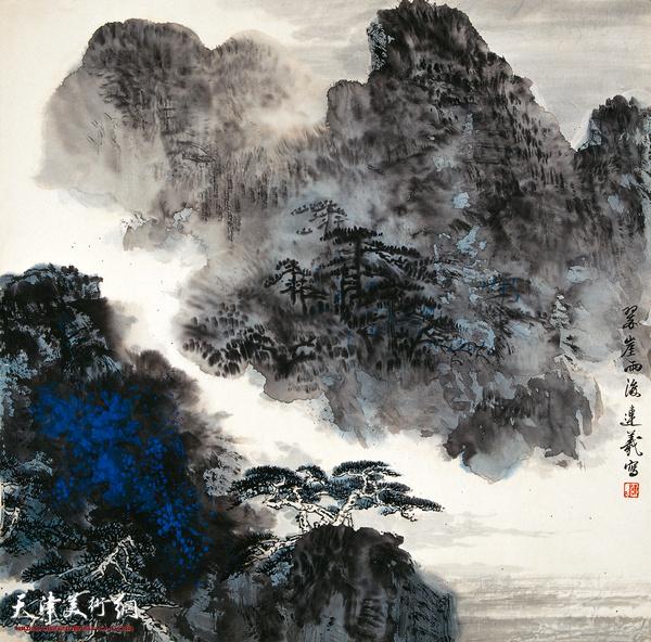 陈连羲作品《翠崖雨后》