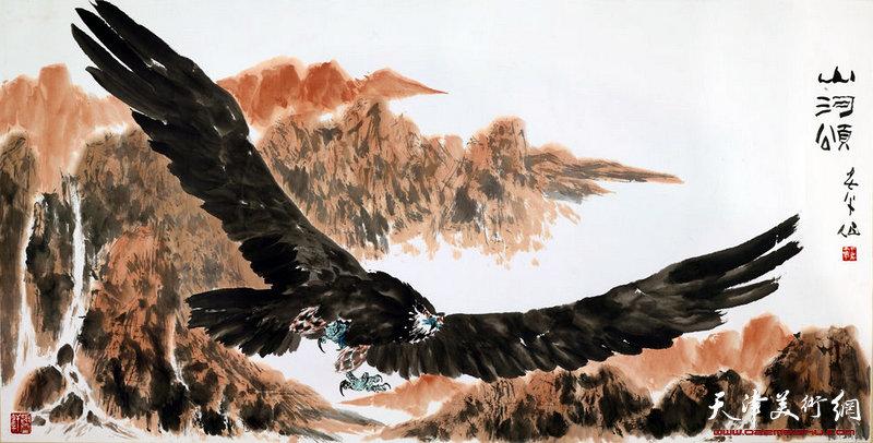 天津美协主席 王书平作品-《山河颂》245cm x95cm