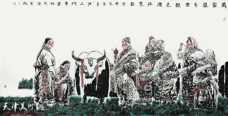 何东 风雪随冬去 绿色渡江来(124cmX248cm纸本水墨2013年)