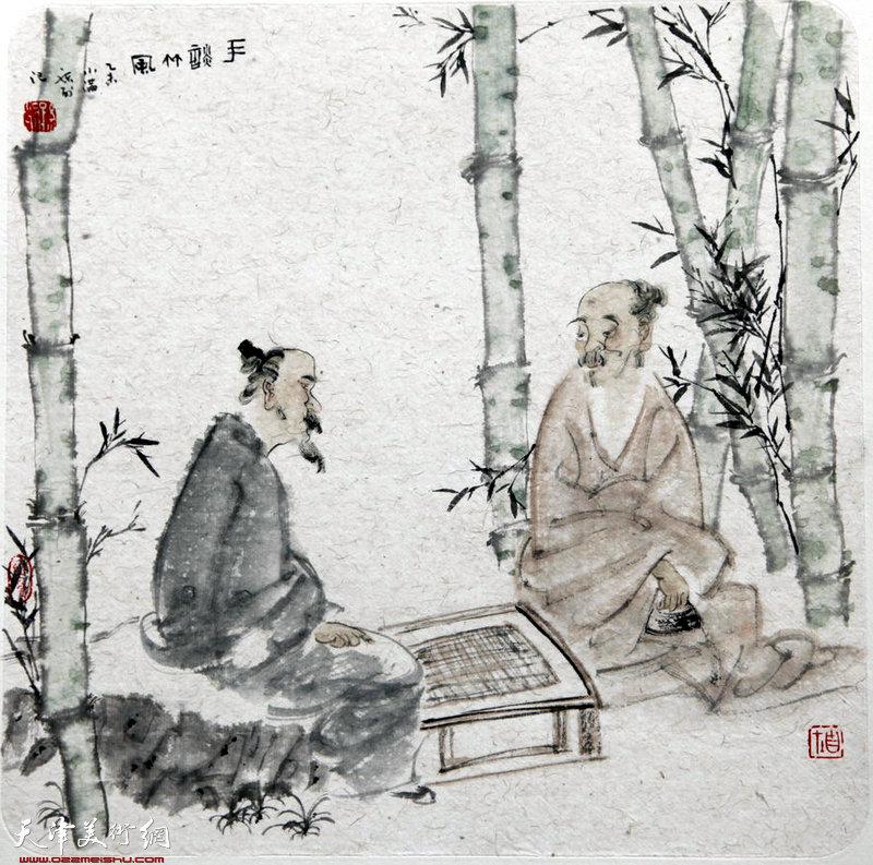 孙列 手谈竹风图