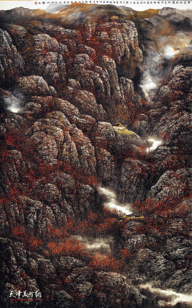 张运河 《幽谷秋林图》
