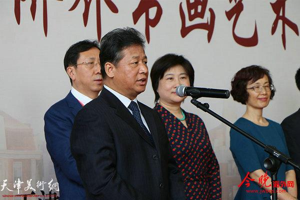 天津市政协副主席刘长喜宣布书画展开幕
