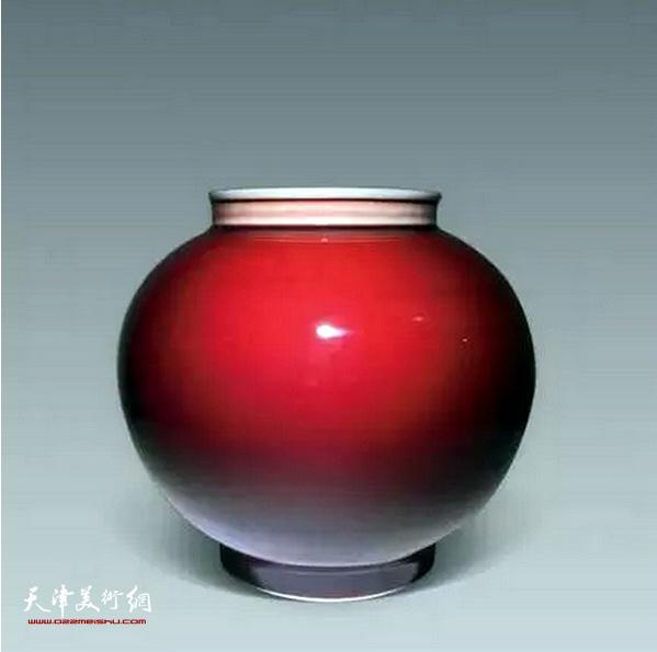邓希平作品:郎红釉灯笼瓶