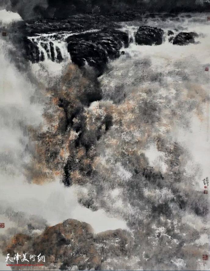 晏平《雷声•雷霆》国画 145×180cm