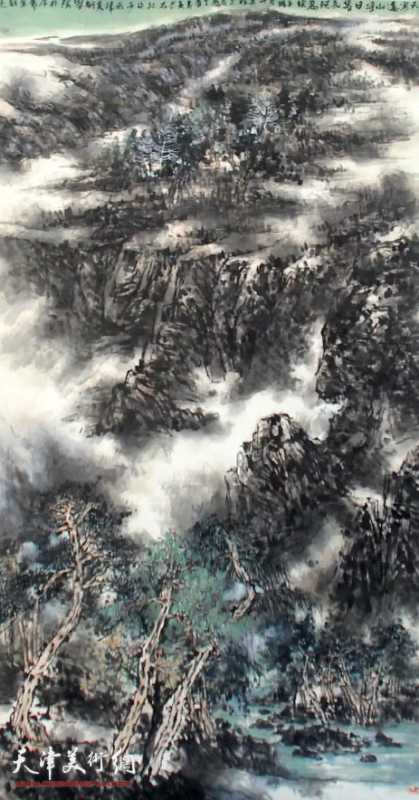 吕大江《天寒远山净》国画 180×96cm