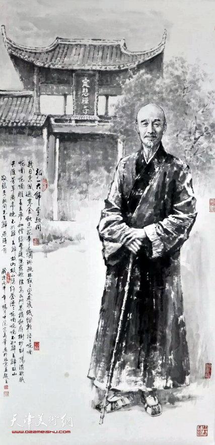 宗万华《弘一大师——李叔同》 136×68cm