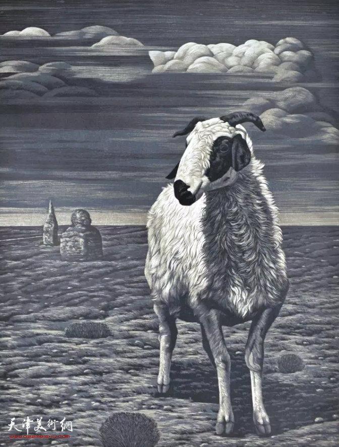 侯金利《远方的雷声》绝版套色木刻 80×60cm