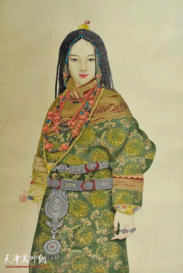 赵新立《藏女》国画(绢本) 80×60cm