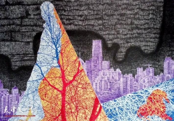 柴玉红《城市里的树》钢笔画 60×40cm