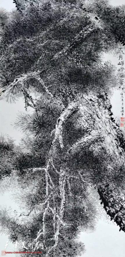 牛博平《岁月峥嵘看苍松》国画136×68cm