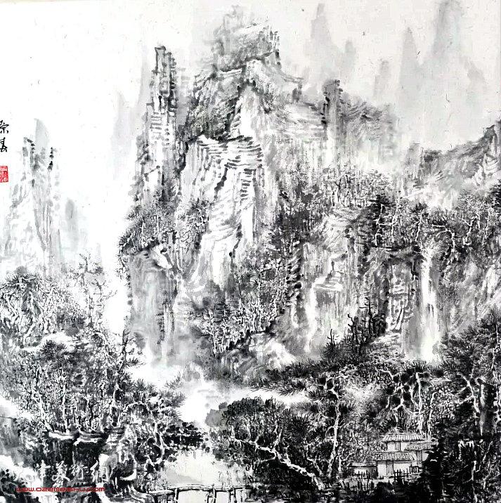 高原春《山居图》国画 45×45cm