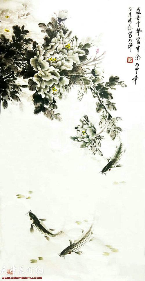 图为展出的绘画作品。