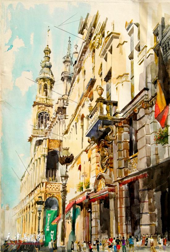 纪伟获奖的水彩画作品《城市中心》