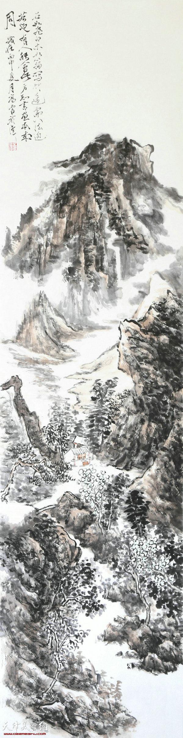 高雪-画家-《溪上人家》