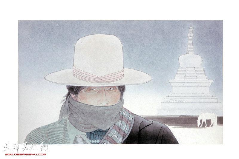 娄湘宁-画家-《塔.白马》
