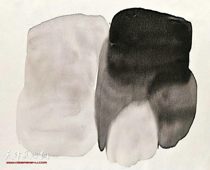 《囡》2013  48x52cm  绢本水墨及综合材料