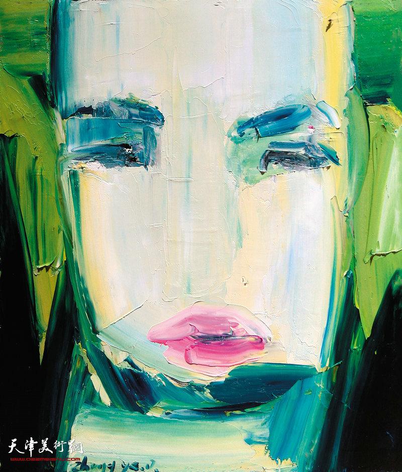 zhangye-张烨-《幕布后的面孔系列-2》-布面油画-60cmx50cm  2017