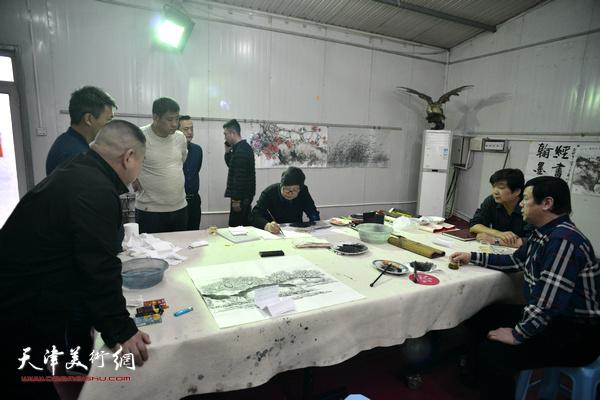 三实学堂送文化到王稳庄慰问活动现场。