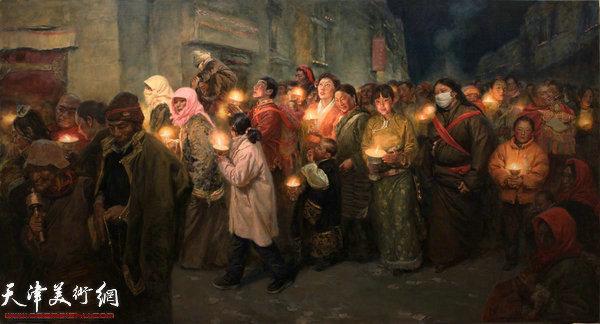 于小冬作品《拉萨燃灯节》