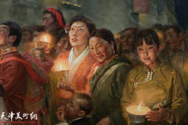于小冬作品《拉萨燃灯节》(局部)