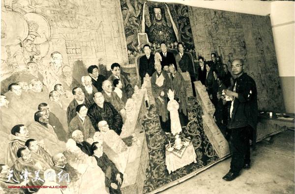 于小冬在创作大型历史画《金瓶掣签》 (1995年)