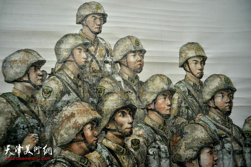 王悲秋巨幅画作《主席与战士》局部。