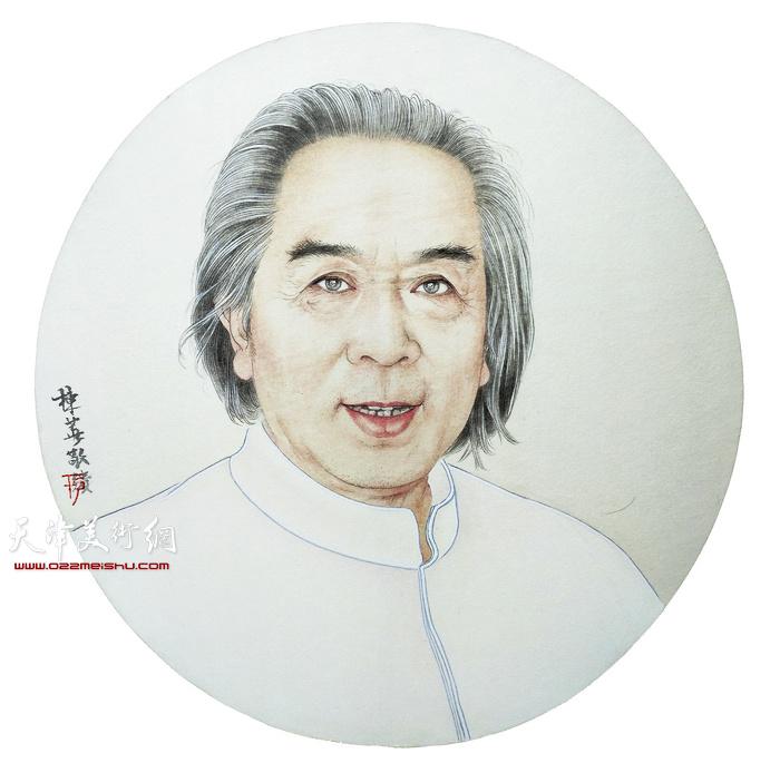于栋华作品:《画家霍春阳》45x45cm 双面绢丝宫扇
