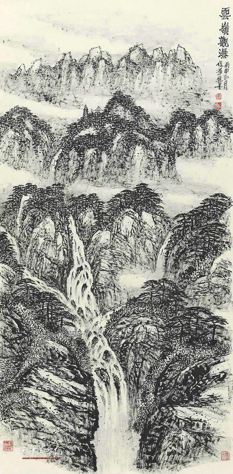焦俊华-云岭观瀑68x138cm